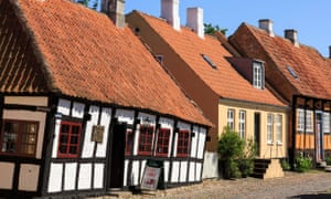 Old houses on a cobbled street in Ebeltoft.
