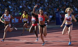 Jodie Williams crosses the line in the women's 200m final.