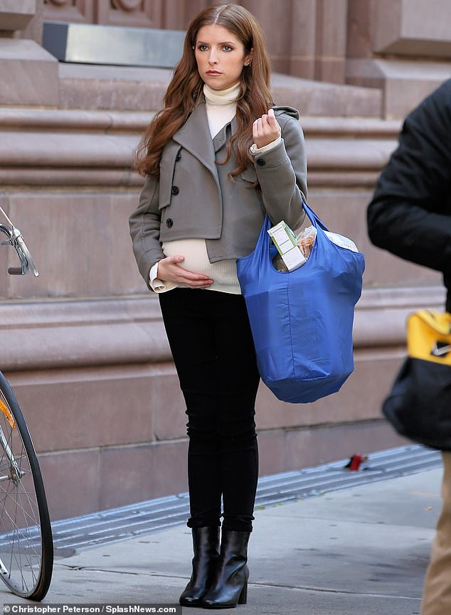 Bumpy day:Anna Kendrick was seen with a baby bump on Friday. But it was just a prop as the actress was on set in New York City filming a new anthology series called Love Life