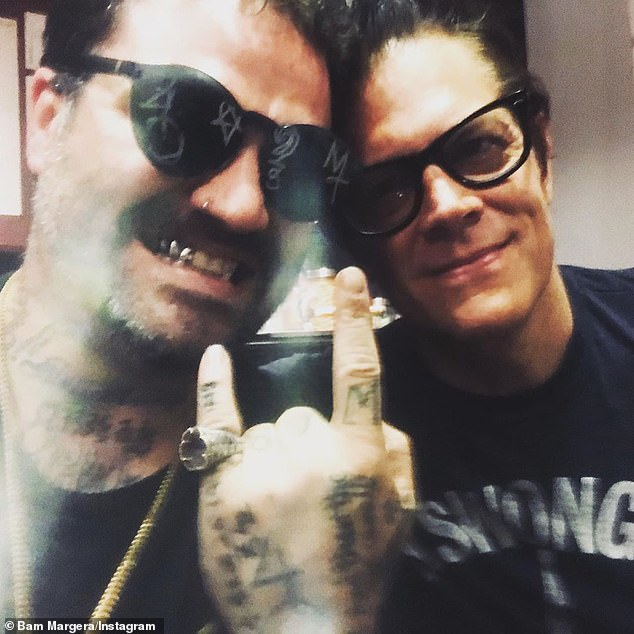 Show of support: Bam Margera, 39, said his Jackass co-stars like Johnny Knoxville (right) and Steve-O have visited him into rehab since he was readmitted