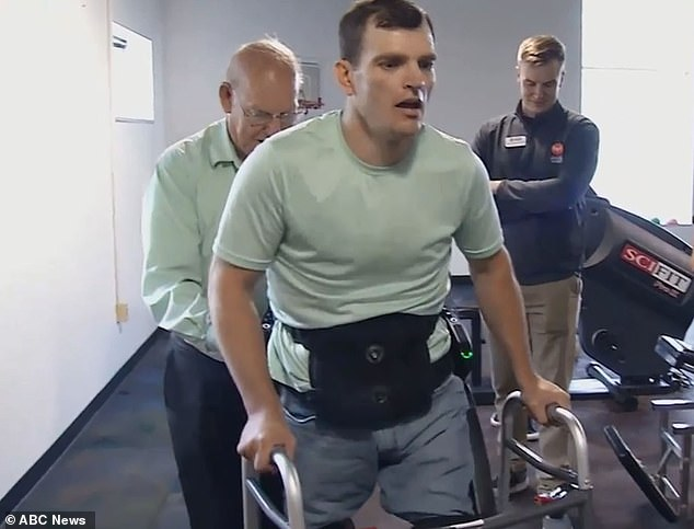After spending six years paralyzed from the waist down, Lyle Fleming the Indego exoskeleton let Lyle Fleming walk again with a little assurance from his father