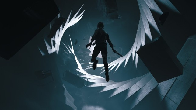 Control's main character floating in front of a surreal landscape