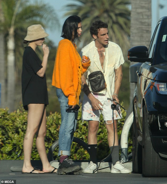 Car troubles: Dua Lipa, 24, was forced to pull over to the side of the road due to a flat tyre in Los Angeles, California on Monday