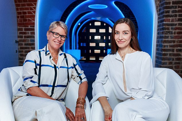 Fiona golfar (left) at the BelleCell Clinic, a futuristic clinic deep beneath London's most exclusive streets, in what was once Winston Churchill's wine cellar