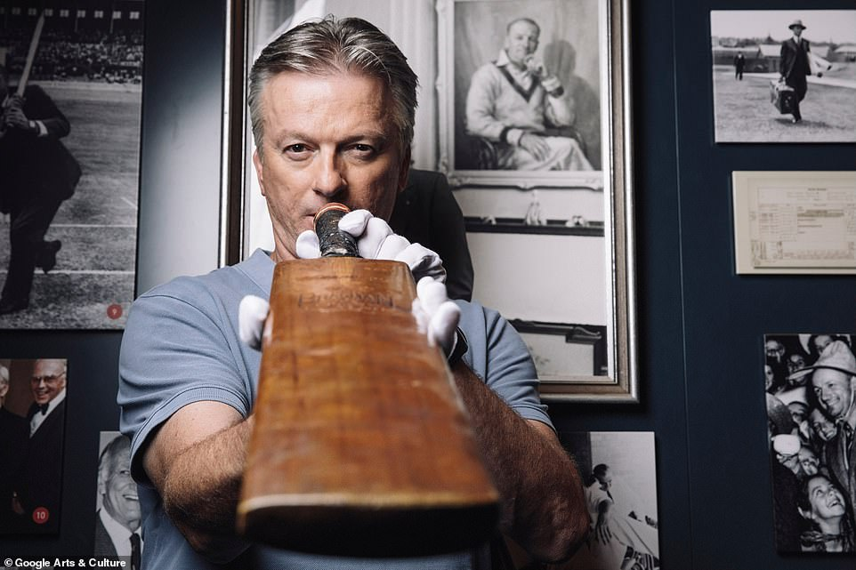A range of history-making bats were imaged as part of the project which worked in conjunction with historians and museums on the project. As well as a guest appearance from Australian legend Steve Waugh (pictured) holidng the childhood bat of Don Bradman
