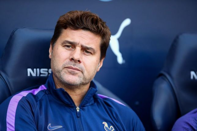 Mauricio Pochettino looks on during Tottenham's game against Man City