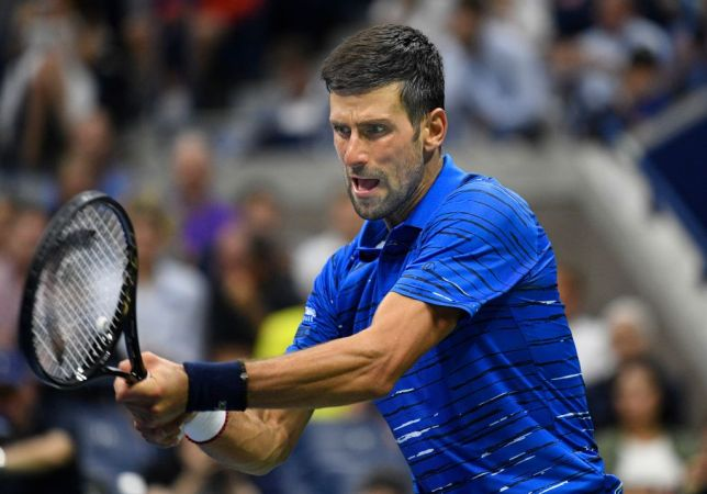 Novak Djokovic hits a backhand during his US Open win over Londero