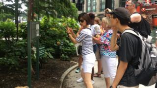 A tour group photographs a sign marking the location of New York City's slave market.