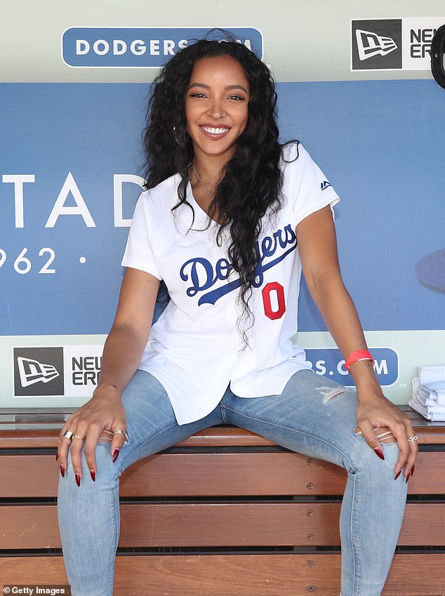 Dodger blue:Singer Tinashe headed out to the ballgame on Sunday afternoon to sing the national anthem for America's national pastime at Dodger Stadium