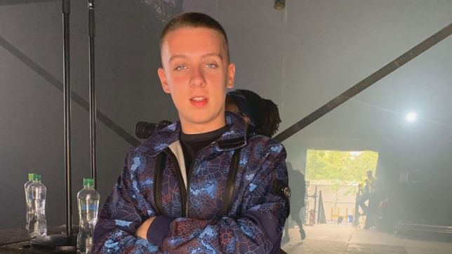 Manchester rapper Aitch poses for a photo for his Instagram at Wireless festival