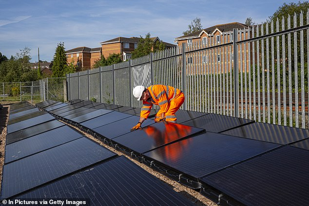 It comes as a stretch of track near Aldershot was receiving 30kW from a nearby solar farm made of 100 individual panels