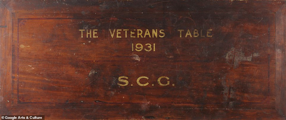 The 'Veterans' Table' is a small wooden table with a top affixed by hinges that contains the signatures of over 300 persons who had a significant contribution to the early beginnings of Test cricket, the formation of the Sydney Cricket Ground and who participated in events at the ground