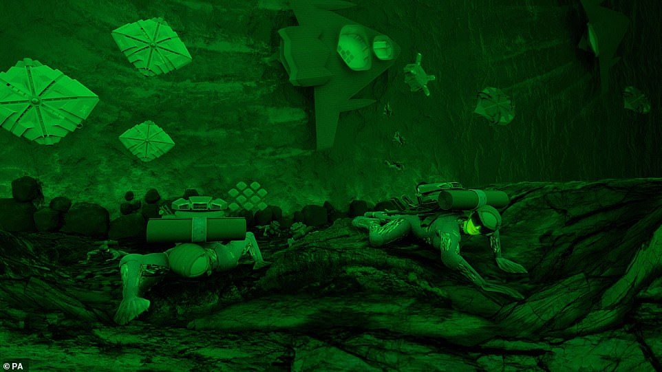 Above is a scene showing how the exoskeleton suits could be used by Royal Marines Commandos on the battlefield. The Marines scale a cliff in their chameleon suits after disembarking from an ekranoplan which is on the ground below