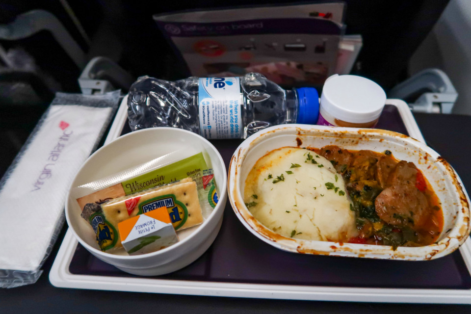 Virgin's economy food may fall on presentation but still tasted good