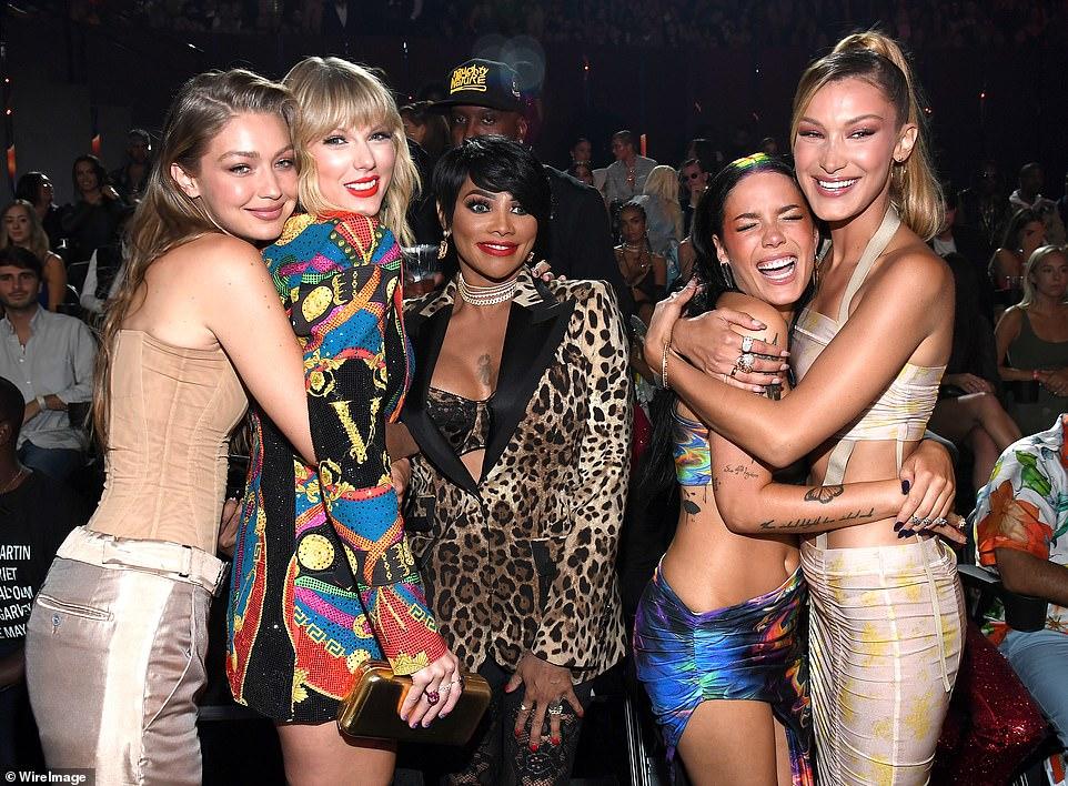 Girl Squad: Gigi Hadid, Taylor Swift, Sandra 'Pepa' Denton, Halsey, and Bella Hadid smiled at the MTV VMA's