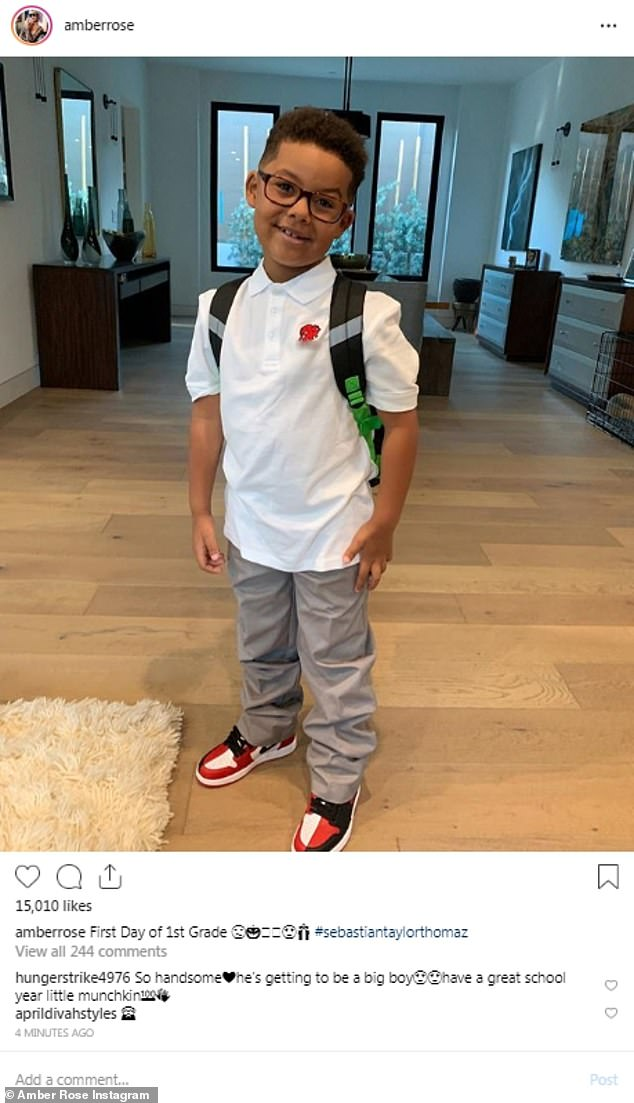 Big kid:The actress already shares one son, Sebastian Taylor Thomaz with her ex Wiz Khalifa. The star shared a photo on Monday of her son starting his first day of first grade
