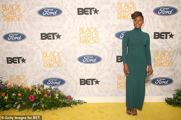 Issa: Issa Rae also rocked a green dress on the red carpet