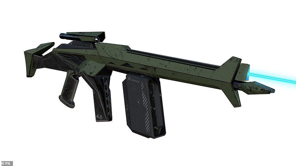 This weapon, which the graduates called a 'Dual Mode Rifle,' appears to be fitted with a dual magazine system and what looks like a cattle prod at the front. It can also fire a laser which from scenario plans suggests it could be severely damaging