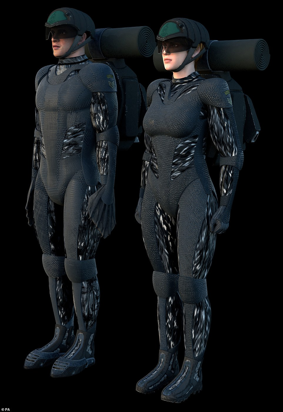 This handout photo from the Royal Navy shows a design concocted by engineer graduates who visited the Commando Training Centre for Royal Marines in Lympstone, England. It shows exo-skeleton suits which would allow the wearer to perform super-human feats like scaling cliffs and blending in with the environment. The slightly shimmering suits above are likened to 'chameleon suits' as they would allow the user to camouflage themselves like a chameleon