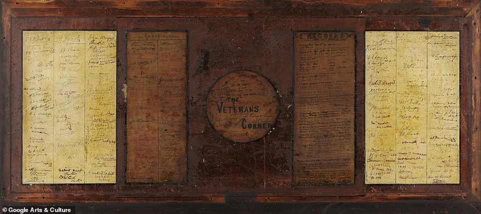 Signatures that adorn the table include, government officials, trustees, cricketers, footballers, athletes, journalists, administrators, visitors and retired players. Contained are snippets of cricket's early development listing the grounds opening in 1878. Constructed in 1931 it served as a memorial to a passing era
