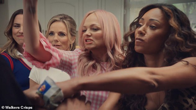 Reunited: In May, the Spice Girls - minus band member Victoria, who opted out of their reunion tour this year - landed a campaign with the crisp brand 22 years after their last TV ad
