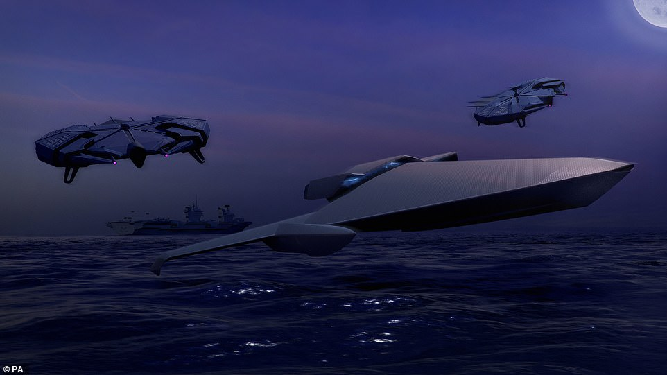 Along with the designs, the graduates dreamt up graphic scenarios of their creations performing on the battlefield. Here, an 'ekranoplan' (pictured front centre) and two intelligence units (back left and right) can be seen flying just above sea level after leaving a large vessel in the background behind them