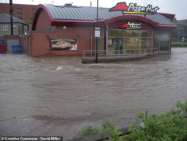 Flooding outside a restaurant in Chesterfield, England, in the June of 2007