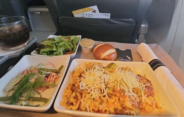 American Airlines business class has a diner choice of options and nicer cutlery