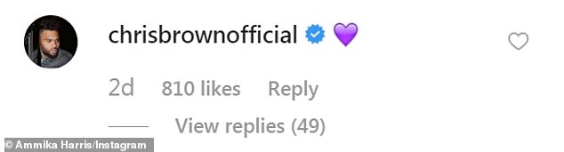 Heart emoji: Brown seemed to reciprocate her feelings, responding to the photo with a purple heart emoji