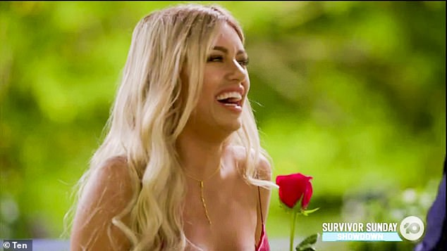Lucky lady: During the episode, Monique Morley (pictured), 26, received a single date card and rose from Bachelor Matt Agnew
