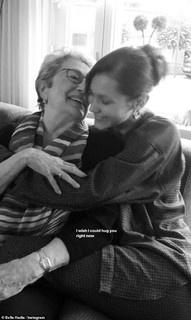 The brunette model added the caption:'I wish I could hug you right now' in one sweet black and white image