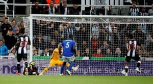 Newcastle United's Yoshinori Muto scores the equaliser.