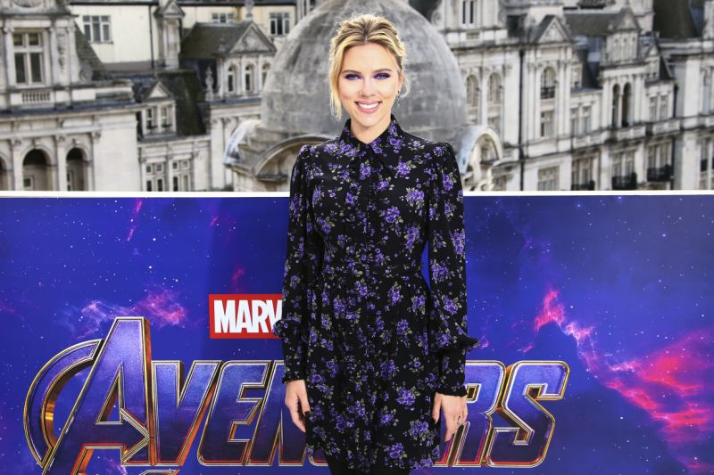 Scarlett Johansson poses for photographers at the photo call for the film 'Avengers Endgame' in London, Thursday, April 11, 2019. (Photo by Joel C Ryan/Invision/AP)