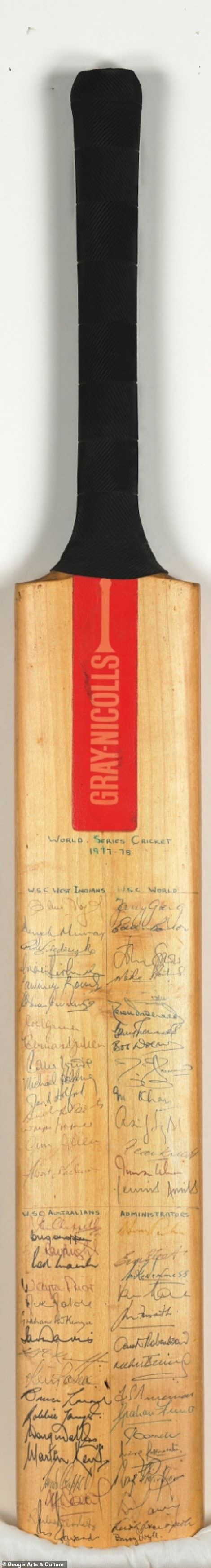 Pictured:Kerry Packer's World Series bat.The 'supertests' which formed the backbone of this competition are to this day heralded as the highest standard of cricket ever played by many of the game's greats