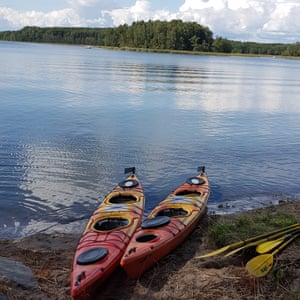 Kayaks rented from Skärgårdens Kanotcenter on Resarö island, Sweden.