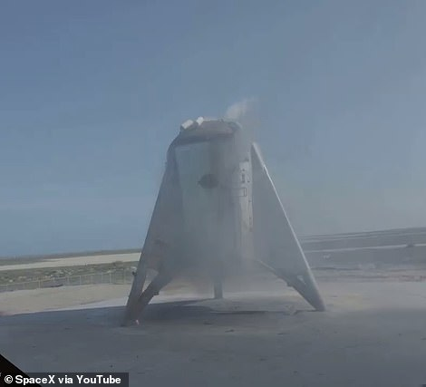 SpaceX was given FAA approval to conduct its test as soon as Monday, according to NASA Spaceflight, though it ultimately pushed the flight back a day to make sure all was in order. It can be seen on the launchpad ahead of its successful flight