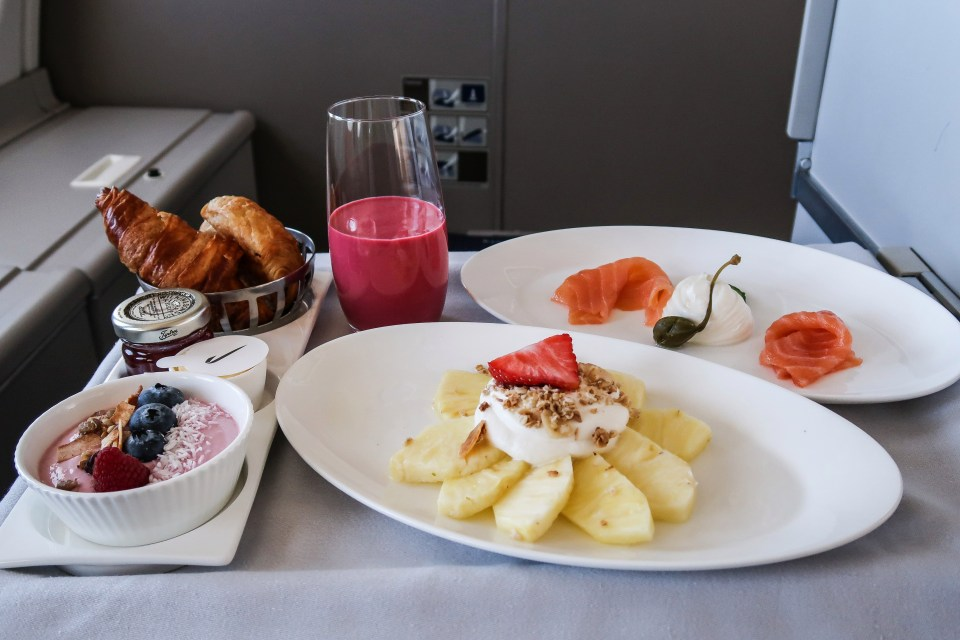 He also said that the choices for business class with BA are varied, including a breakfast pineapple carpaccio