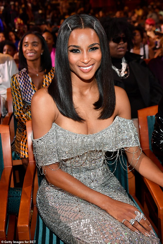 Ciara's look:Ciara (real name: Ciara Princess Harris) rocked a strapless silver gown to the New Jersey awards ceremony