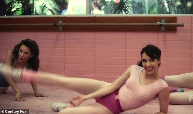 Working up a sweat: The clip starts with the stars all dressed in 80s aerobic workout clothes (pictured Emma Roberts)