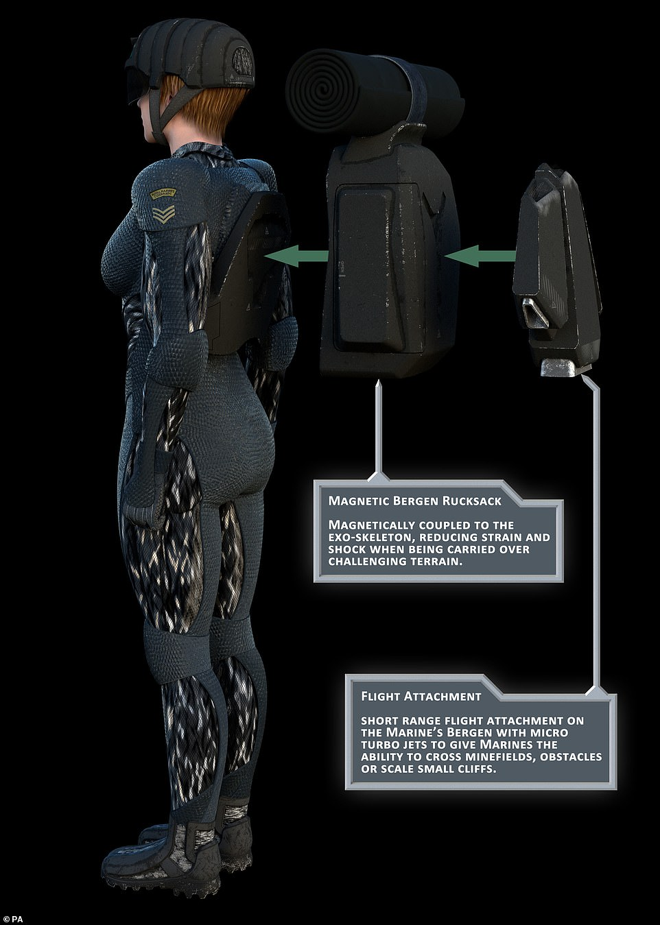 The picture above, a profile view of the exoskeleton suit, shows the additional pieces included. The magnetic backpack would latch on to the suit, reducing strain and shock on the wearer, making it easier to carry large loads. The Royal Navy said they would hope to deploy some of these pieces in the future