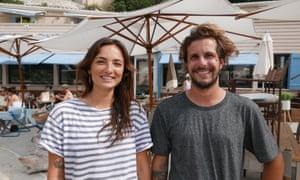 Luna Penn, left, and Axel Zoellin from beach restaurant Ô Petit Monde, Sanary-sur-Mer, France.