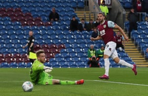 Burnley's Jay Rodriguez scores the first.