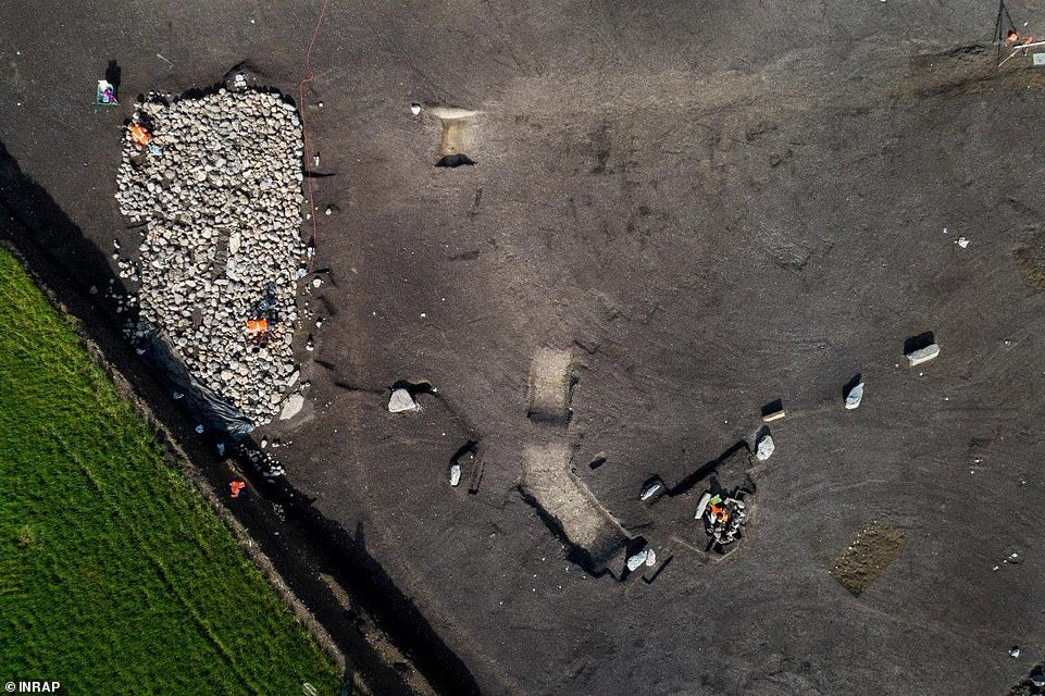 The menhirs are arranged in straight line that stretches for at least 450 feet (150 m) in a north-south direction, experts say, as seen in this overhead shot of the site