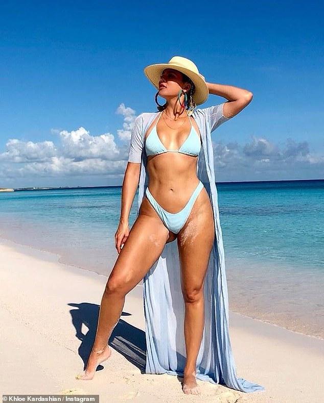 Hot mama: Khloe regularly shared her bikini body on social media for her followers