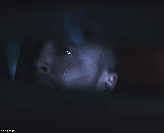 Chilling: The male reporter says, 'Veteran police officers are calling the level of carnage, quote, staggering,' just as the teaser shows Pinkman's eyes in the rear-view mirror