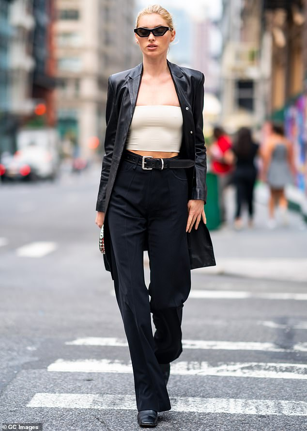 On the go:Elsa Hosk was runway-ready even when she was glimpsed hoofing it down the street in New York City this Wednesday