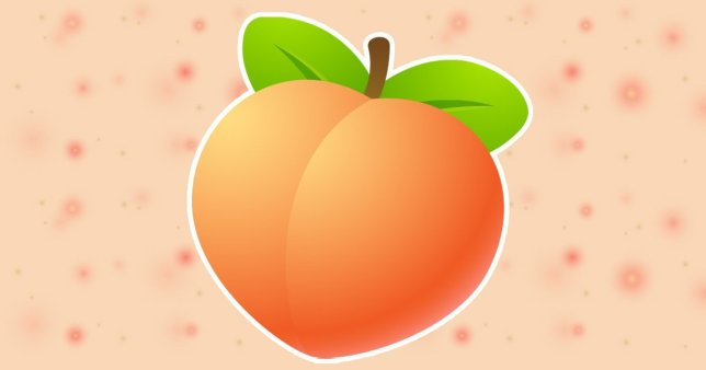 A peach emoji on top of a background that features spots