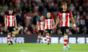 Che Adams and his teammates react to the second Bournemouth goal.