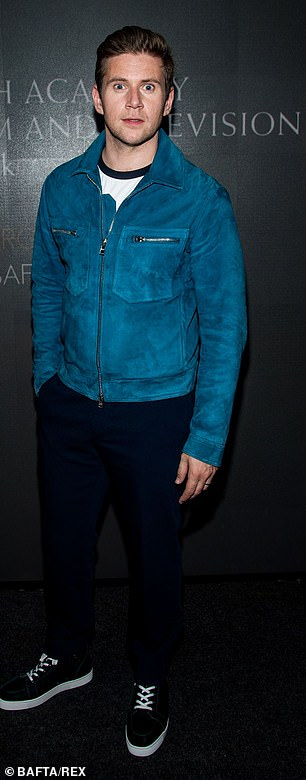 Dapper: Allen Leech wore a blue jacket with navy trousers and black trainers
