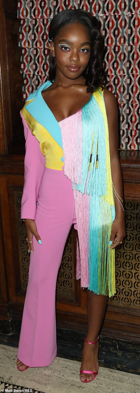 Bold! Marsai wowed in a colorful fringe number with strappy heels